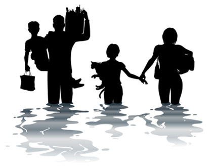 Family in a flood