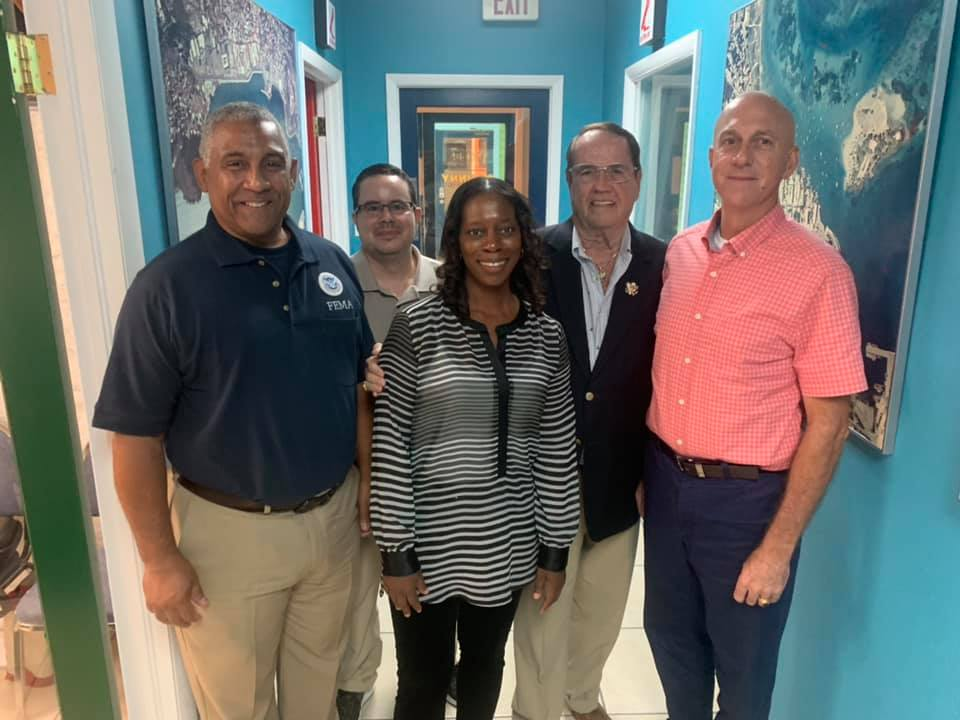 FEMA Emergency Division Director Mak Walters and VITEMA Director Daryl Jaschen with Holland Redfield and team at the Straight Talk FM program